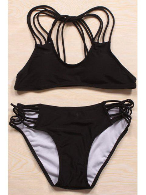 fancy Solid Color Cut Out Halter Bikini Set - BLACK M Mobile