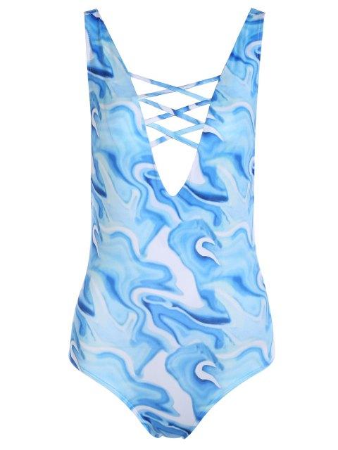 Ouvrez Retour Plongeant Neck One-Piece Maillots de bain - bleu eau L Mobile