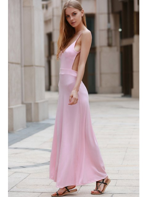 hot Backless Spaghetti Straps Solid Color Maxi Dress - PINK L Mobile