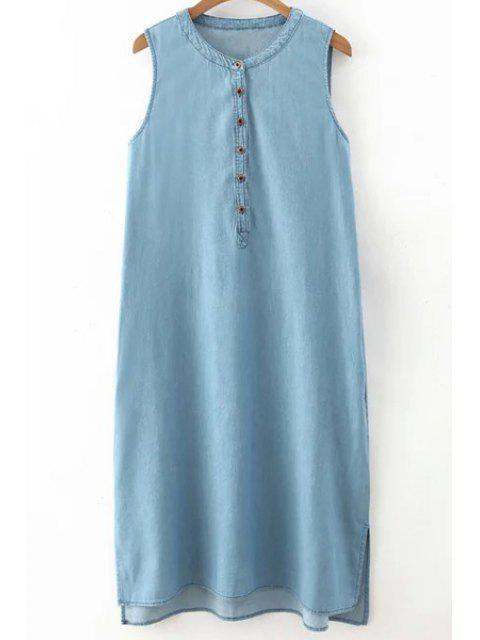 hot Light Blue Round Neck Denim Sundress - LIGHT BLUE S Mobile