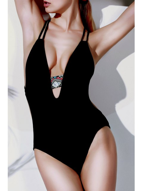 women's Printed Halter Cut Out One Piece Swimwear - BLACK XL Mobile
