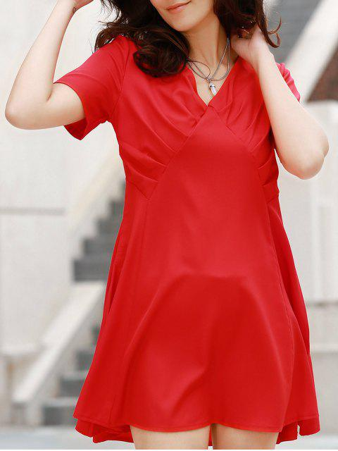 ladies V-Neck Solid Color Swing Dress - RED M Mobile