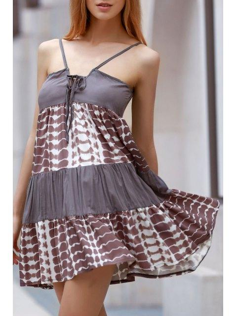 shops Printed Spaghetti Straps Lace Up Dress - COLORMIX L Mobile