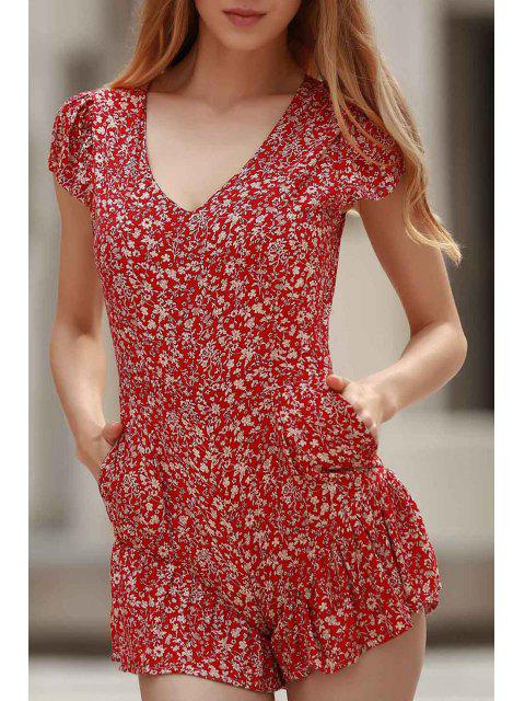 women Tiny Floral Print V Neck Cap Sleeve Playsuit - RED XL Mobile