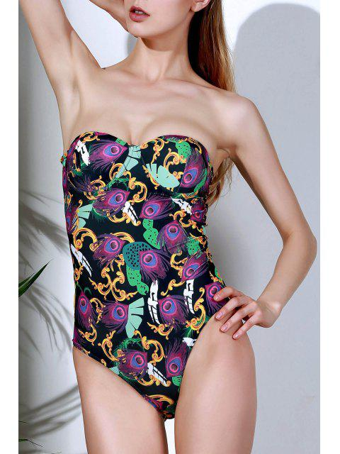 online Printed Halter Lace Up One Piece Swimwear - COLORMIX S Mobile