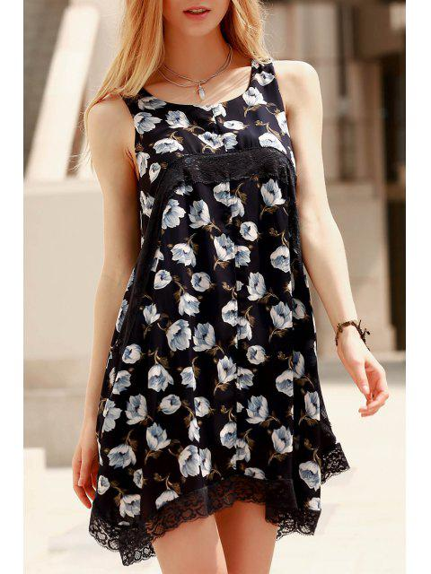 womens Lace Spliced Straps Printed Dress - BLUE L Mobile