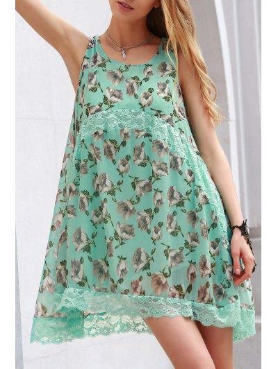 Lace Spliced Straps Tiny Flower Print Dress - Green L
