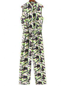 Geometric Pattern Stand Neck Sleeveless Jumpsuit - Green S