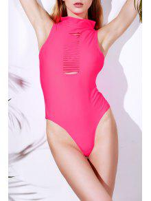 Solid Color Cut Out Turtle Neck One-Piece Swimwear - Rose M