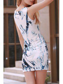 Digital Print Jewel Neck Sleeveless Dress - Blue And White M