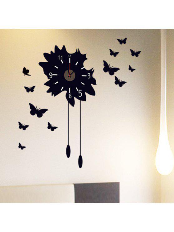 عالية الجودة الأسود الفراشات نمط دي الجدار ملصق ساعة - أسود