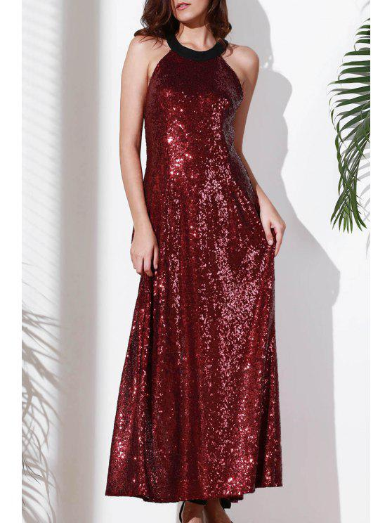 lady Open Back Sequin Maxi Prom Dress - DARK RED L