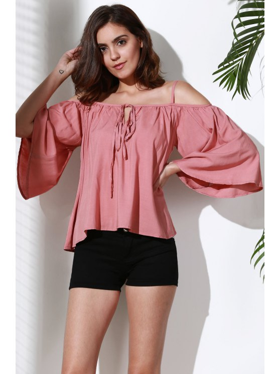 womens Flare Sleeve Loose Trapeze Top - PINK S