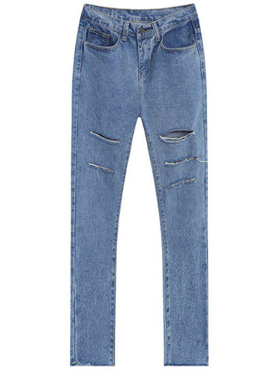 affordable Broken Hole All-Match Jeans - LIGHT BLUE M
