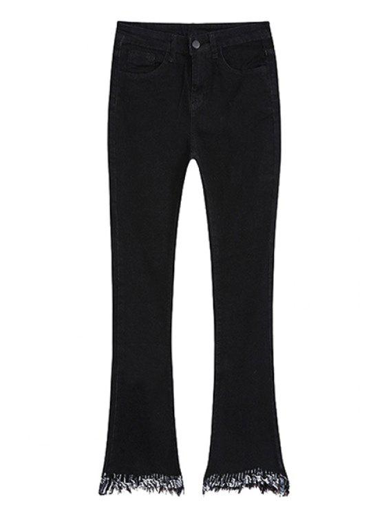 unique Frayed Boot Cut Ninth Jeans - BLACK L