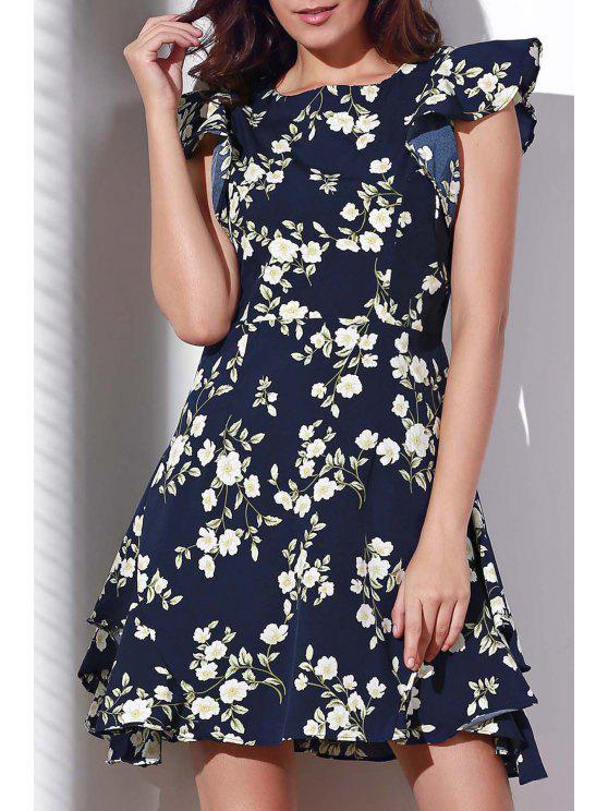 Ruffle Sleeve Floral Print Purplish Blue Dress - PURPLISH BLUE S