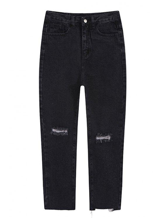 women Broken Hole Ninth Jeans - BLACK S