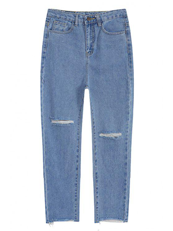 unique Broken Hole Ninth Jeans - LIGHT BLUE M