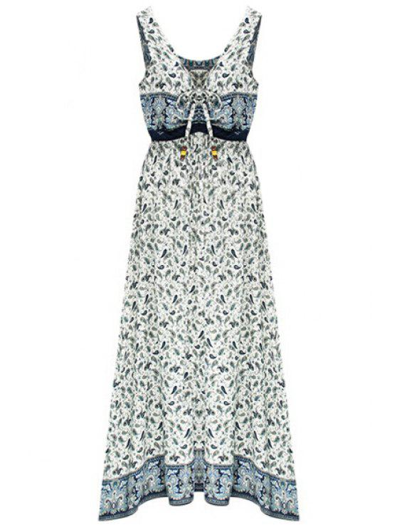 Lace-Up Blumendruck V-Ausschnitt Ärmelloses Kleid - Hellblau M