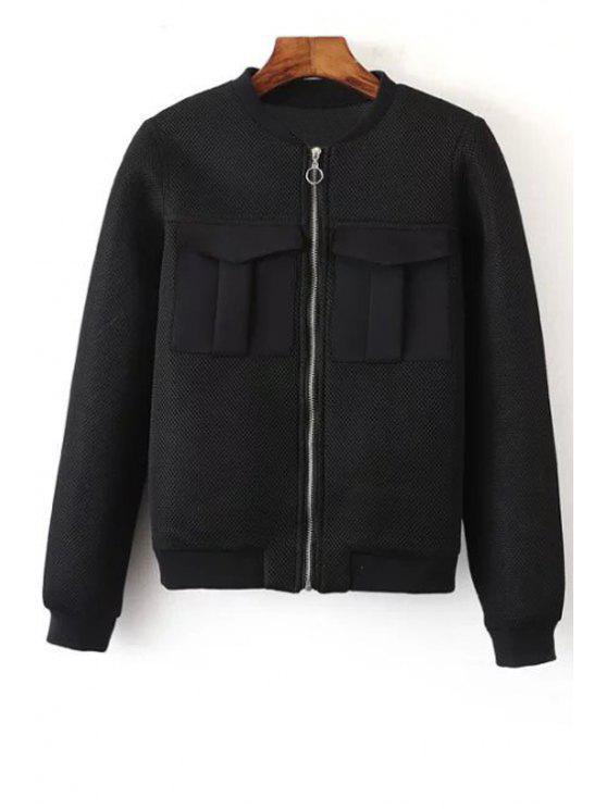 online Big Pocket Mesh Design Pilot Jacket - BLACK S