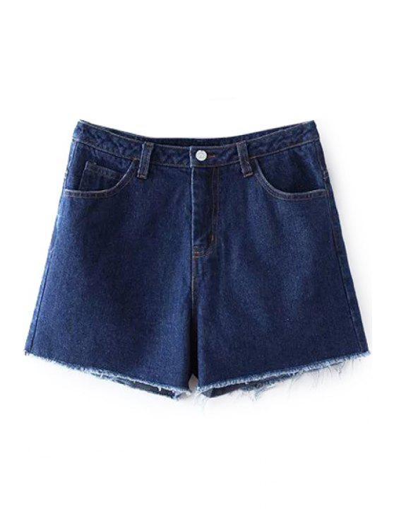 Pantalones cortos azul profundo de la alta cintura del dril de algodón - Marina de Guerra L