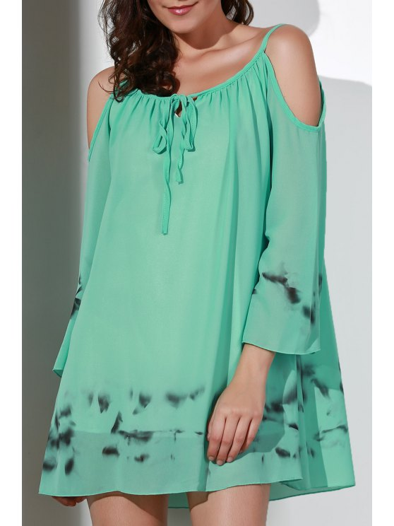 best Printed V-Neck Cut Out Chiffon Dress - LIGHT GREEN S