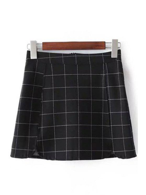 trendy Plaid Print High Waist Mini Skirt - CHECKED L