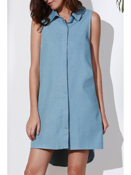 latest Sleeveless Button Design Flared Dress - BLUE 2XL