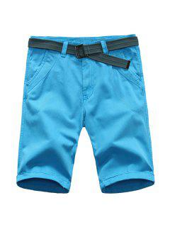 Straight Leg Pure Color Zipper Fly Men's Shorts - Azure 32