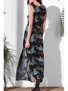 Floral Bordado Cuello Redondo Vestido Sin Mangas - Azul L