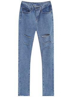 Broken Hole All-Match Jeans - Light Blue S