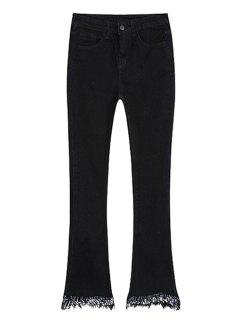 Frayed Boot Cut Ninth Jeans - Black S