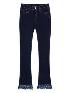 Frayed Boot Cut Ninth Jeans - Deep Blue L