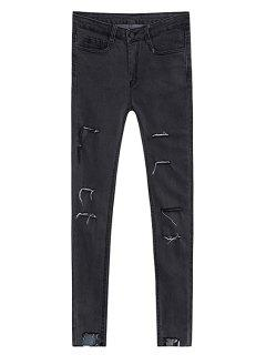 Broken Hole Pencil Jeans - Deep Gray L