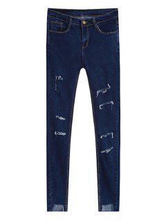 Broken Hole Pencil Jeans - Deep Blue L