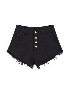Frayed Denim Shorts - Black L