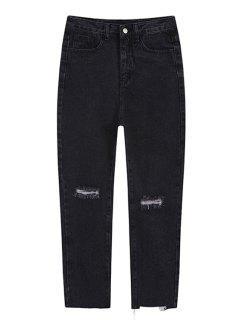Cassé Trou Neuvième Jeans - Noir L