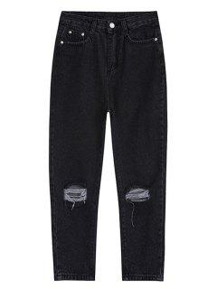 Ripped Ninth Jeans - Black L