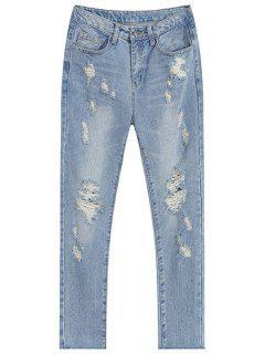 De Cintura Alta Pantalones Vaqueros Rasgados - Azul Claro L