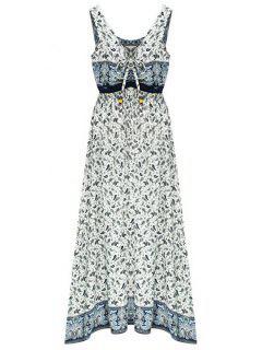 Lace-Up Floral Print V Neck Sleeveless Dress - Light Blue M