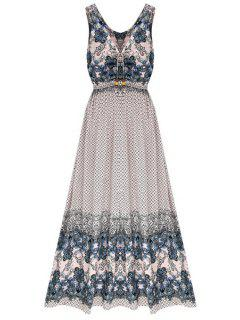 Vintage Flower Print V Neck Sleeveless Dress - Pink L