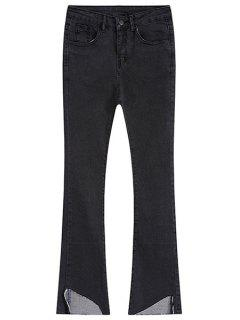Mid-Waisted Frayed Boot Cut Jeans - Deep Gray L