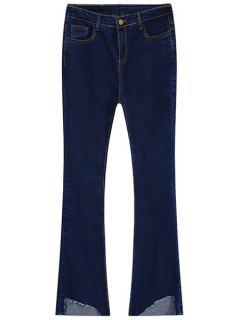 Mid-Waisted Frayed Boot Cut Jeans - Deep Blue S