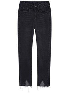 Frayed Irregular Trim Jogger Jeans - Black L