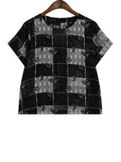 Plaid Floral Pattern Chiffon T-Shirt - Black