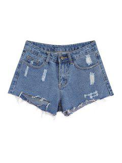 Bleach Wash Ripped Denim Shorts - Light Blue L