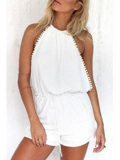 Halterneck Backless White Romper - White Xl