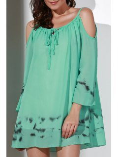 Printed V-Neck Cut Out Chiffon Dress - Light Green S
