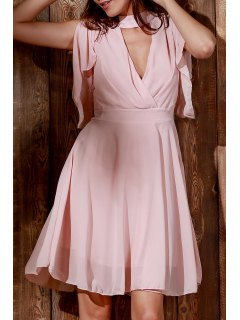 Flouncing Manches Robe En Mousseline De Rose - Rose PÂle 2xl