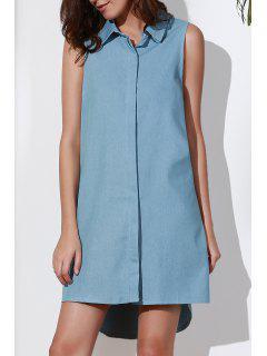 Sleeveless Button Design Flared Dress - Blue 2xl